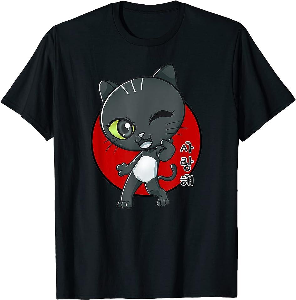 süße chibi Katze mit Herz Geste & Love You auf koreanisch T-Shirt