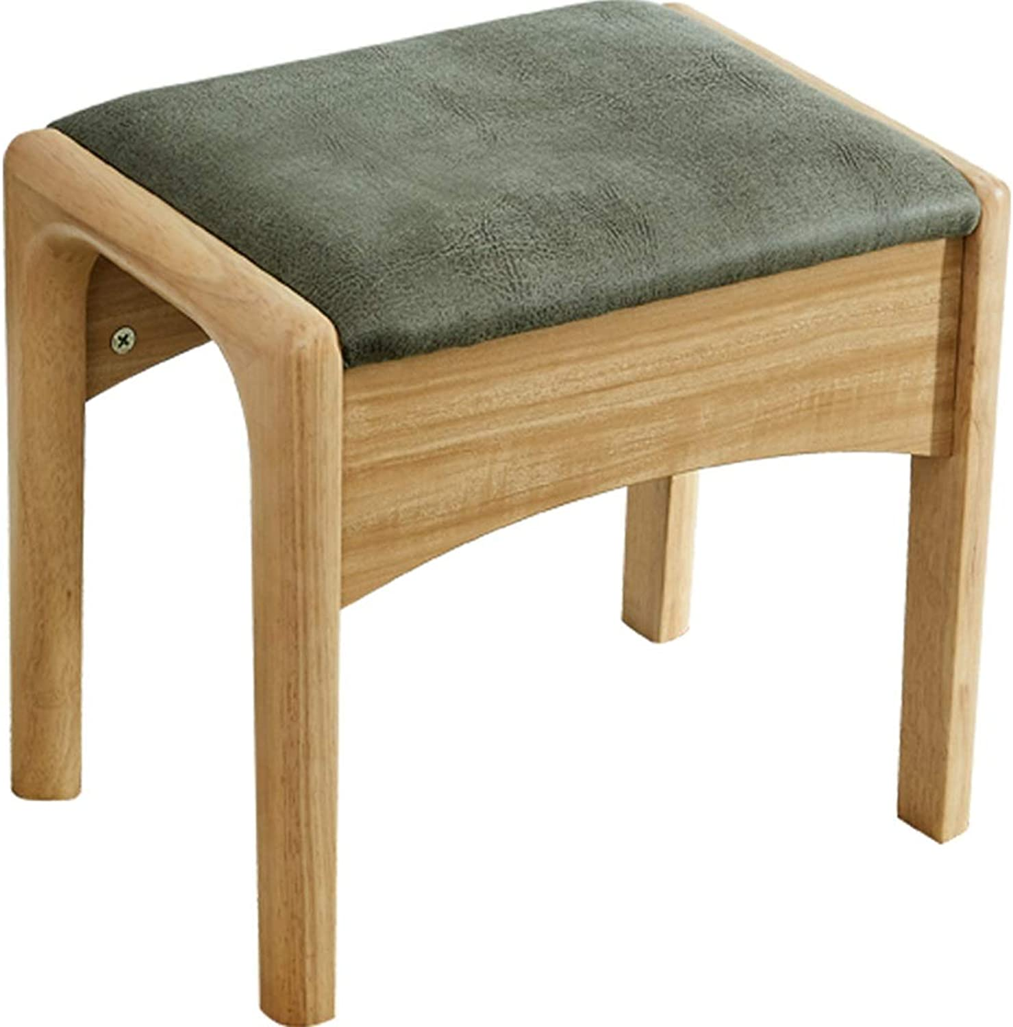Solid Wood Dressing Stool, Household shoes-Changing Stool, Simple Square Stool, Dressing Stool (color   Green)