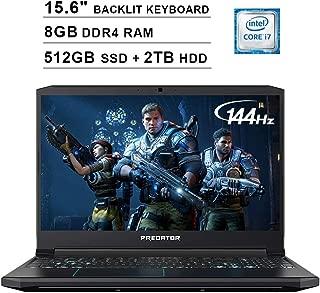 Acer 2019 Predator Helios 300 15.6 Inch FHD Gaming Laptop (9th Gen Intel 6-Core i7-9750H up to 4.5 GHz, 8GB RAM, 512GB PCIe SSD + 2TB HDD, Backlit Keyboard, GTX 1660 Ti, WiFi, Bluetooth, Win 10)