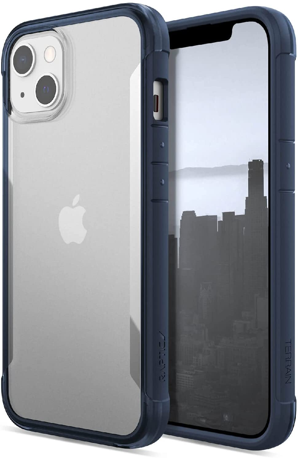 Raptic Terrain Case Compatible with iPhone 13 Case, Made in USA, Clear Polycarbonate Back, 10ft Drop Protection, Fits iPhone 13, Blue/Clear