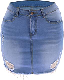 AILMY Denim Jean Short Skirts Sexy Cowboy Cut Frayed Ripped Slim Fit Tight Casual Skirt