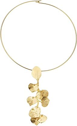 Kenneth Jay Lane Satin Gold Flower Front Wire Necklace