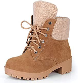 HebeTop Women Winter Ankle Booties with Block Heels Lace Up Fur Shoes Classic Warm Snow Boots