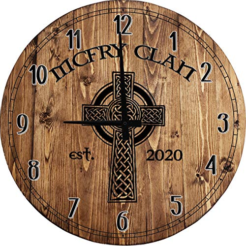 One Stop Gear Large Wall Clock Celtic Irish Cross Knot Bar Sign Home Decor Classic Brown 14 inch Wall Decor