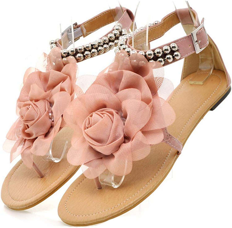 ADLISA Women Bohemia Flower Flat Sandals T-Strap Thongs Summer Belt Buckle shoes