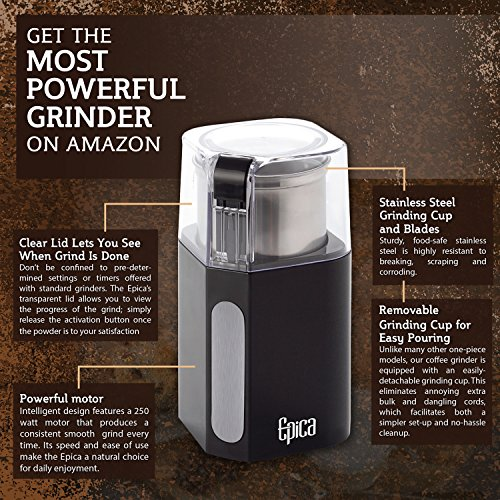 Epica Electric Coffee Grinder & Spice Grinder -Stainless Steel Blades and Removable Grinding Cup for Easy Pouring- Strongest Motor on the Market For Fastest and Most Efficient Grinding ...