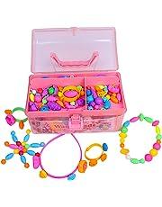 【公式】 Waqubeads(ワクビーズ) 知育玩具 おもちゃ 女の子 アクセサリー 針と糸を使わない ビーズアクセサリー 4歳 5歳 6歳 7歳 8歳 メイクセット LOTUS LIFE (専用お片付けBOX付属、500ピース)