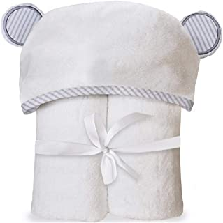 Organic Bamboo Hooded Baby Towel with Bonus Washcloth and Laundry Bag.Ultra Soft and Super Absorbent Bath Towel with Adorable Ears Right on The Hood.