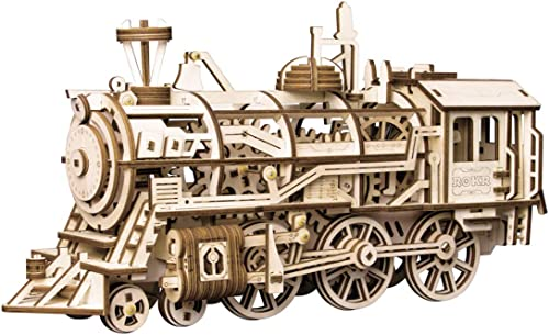 high quality ROKR 3D Wooden online sale Puzzle-Self Propelled Mechanical online sale Model-DIY Building Kits-Brain Teaser Games-Best Gift for Boyfriend or Girlfriend on Birthday/Anniversary/Valentine's Day/Christmas(Locomotive) online