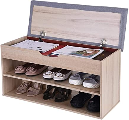 $39 Get Beyonds Entryway Shoe Storage Bench, White Shoes Shelf Rack with Innovative Flip Cover Drawers &Two-Tier & Padded Seat Cushion, Hallway Bathroom Wooden Cabinet