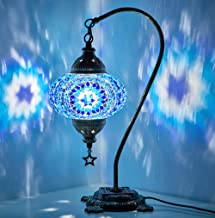 New BOSPHORUS Stunning Handmade Swan Neck Turkish Moroccan Mosaic Glass Table Desk Bedside Lamp Light with Bronze Base (Blue)