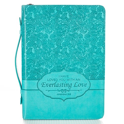 Christian Art Gifts Turquoise Faux Leather Bible Cover for Women | Everlasting Love - Jeremiah 31:3 | Zippered Bible Case Book Cover w/Handle