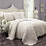 Vue Plush Décor 100% Polyester Coverlet Cover Sets with 2 Decorative Shams, King, Ivory