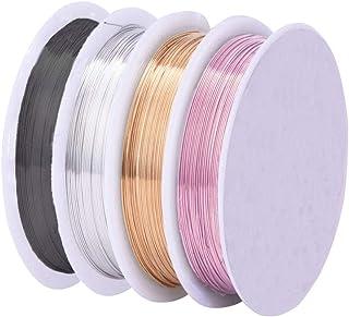 Sunbbingsp Fil pour Bijoux 0,5 mm, 4 Rouleaux Argent Brillant/Or KC/Or Rose Rose/Noir Pistolet Fil de cuivre pour L'artisa...