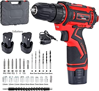"""Sponsored Ad – Cordless Drill Driver 12.6V, 3/8"""" Chuck, 30Nm Max, Built-in LED Working Light with 2 Batteries Electric Scr..."""