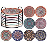 CHEFBEE Coasters for Drinks, Set of 8 Ceramic Absorbent Coasters with Holder, Stone Mandala Coaster Set with Cork Base, Housewarming Gift for Friends and Family, Great Home and Dining Room Decor