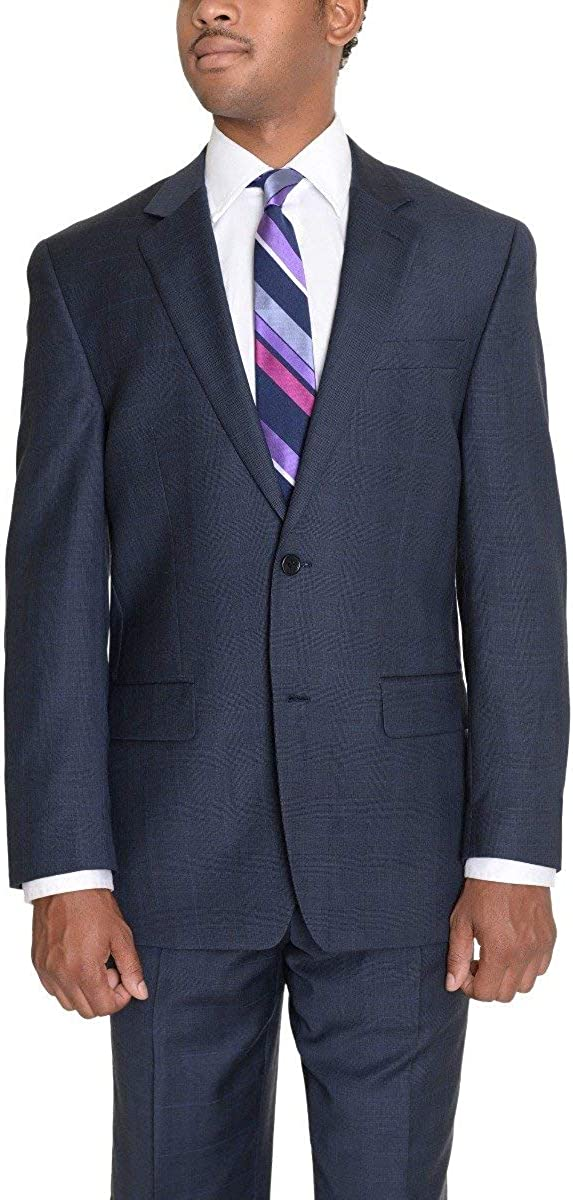 Zanetti Mens Classic Fit Navy Blue Glen Plaid Two Button Wool Suit
