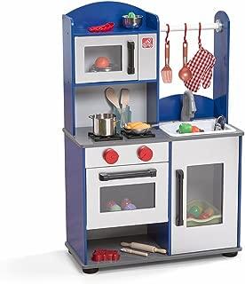 Step2 Midtown Modern Wood Kitchen | Durable Boys Play Kitchen | Blue Kids Kitchen Playset Toy