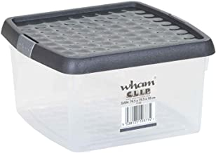 Wham 19427 Storage Box with Clip Lid, Clear/Graphite - 24.5H X 24.5W X 10.50D cm