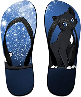 AA+ME Black Warrior Cat Comfortable Men Women Summer Beach Sandals Shower Flip-Flops Slippers