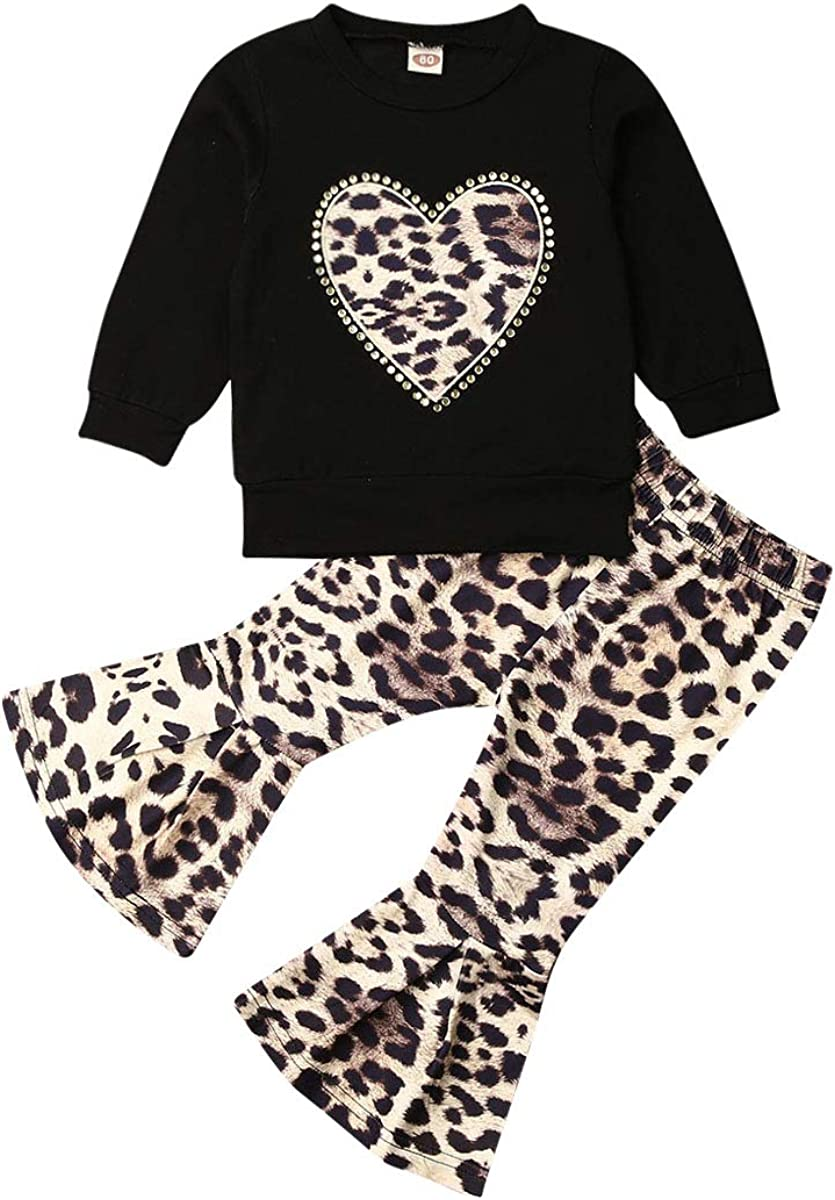 Toddler Baby Girls Valentine's Day Outfits Long Sleeve T-Shirt Tops Leopard Print Flared Bell Bottom Pants Clothes Set