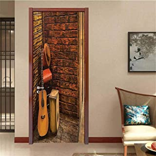 Music Decor Decorative Door Decal Music Instruments On Wooden Stage in Pub Beverage Cafe Counter Bar Drum Stick The Picture on The Door W23.6 x H78.7 INCH