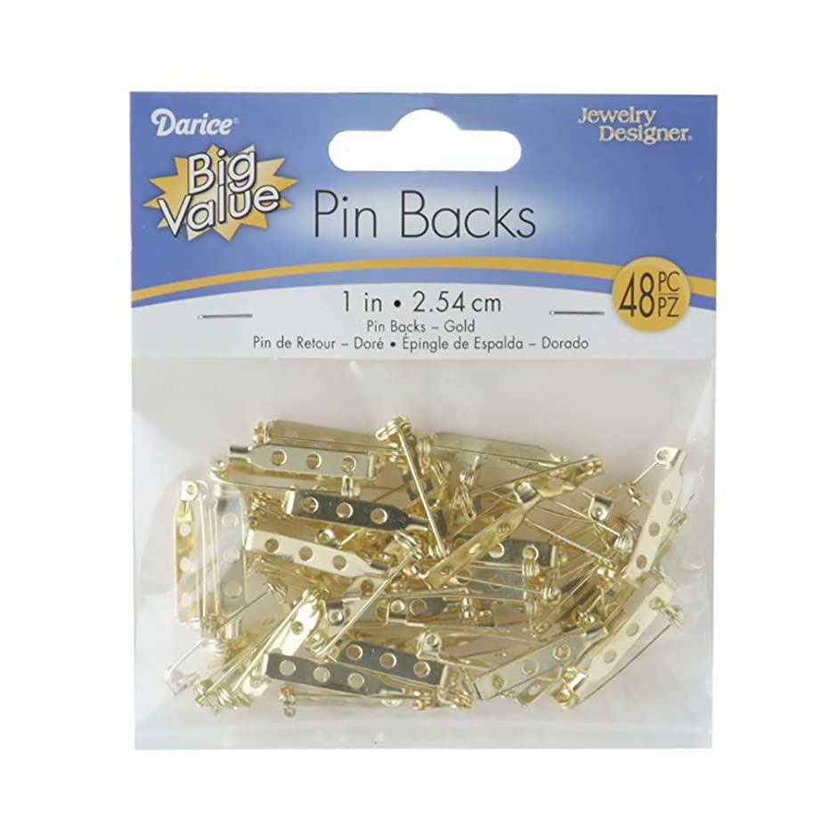 Darice Pin Backs, 1-Inch, Gold, 48/Pkg