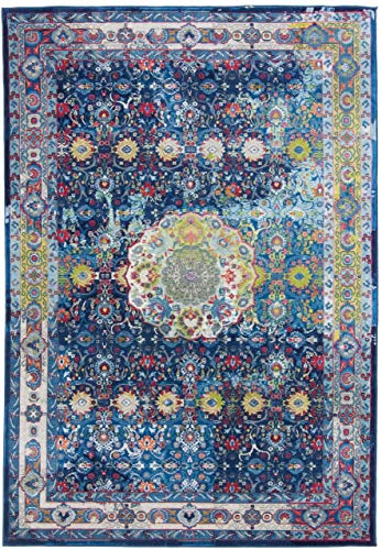 CarpetFine: Aqua Teppich 80x150 cm Blau - Bordüre