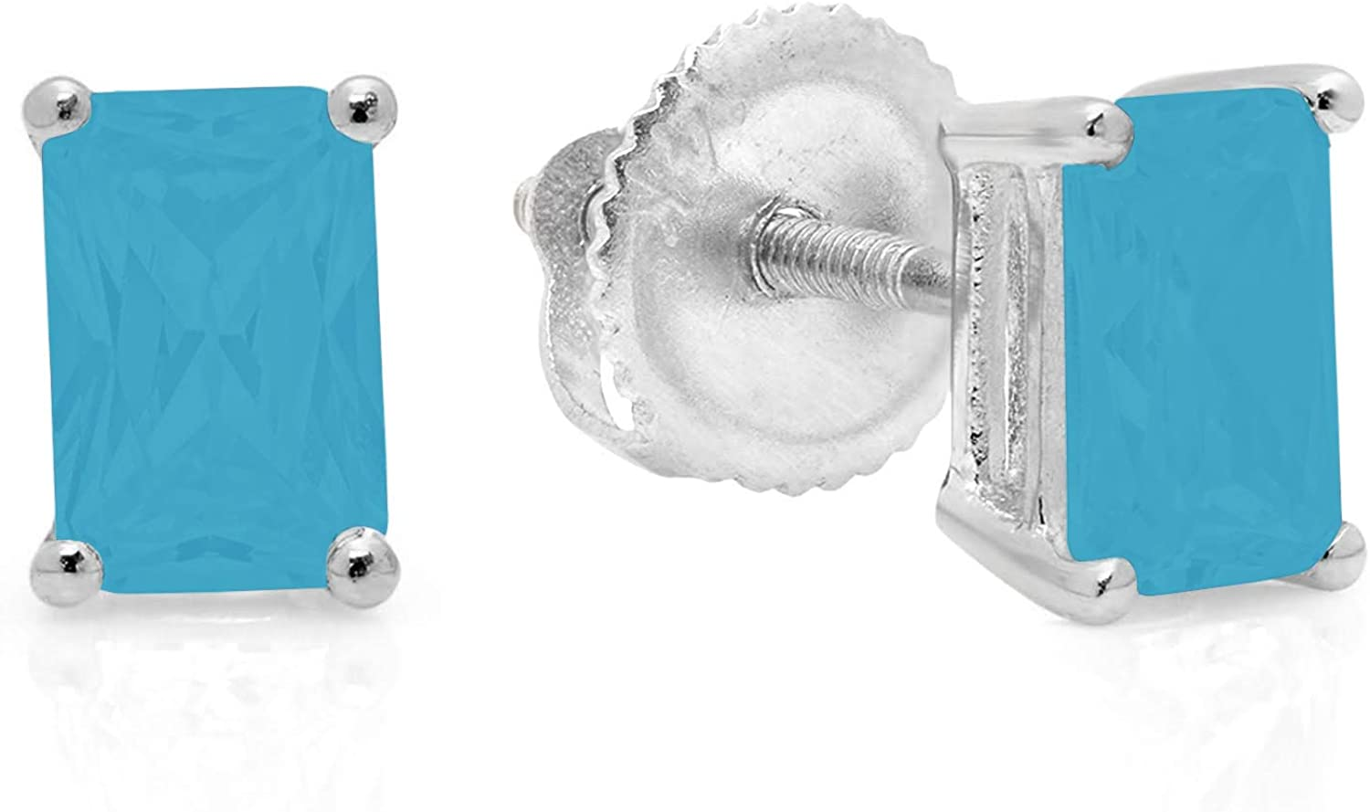 1.0 ct Brilliant Emerald Cut Solitaire Flawless Genuine Simulated CZ Blue Turquoise Gemstone VVS1 Ideal Pair of Designer Stud Earrings Solid 14k White Gold Screw Back