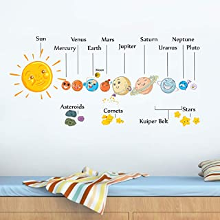 HaokHome W-10801 Wall Decal Planet Wall Sticker The Solar...