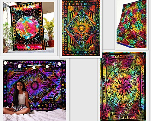 FUTURE HANDMADE Wholesale 5 Twin Tapestries Wall Hanging Psychedelic Celtic Cycle of Ages Mandala Tapestry Sun Moon and Stars Tapestry Wall Decor Zodiac Astrology Tapestry Bedspreads