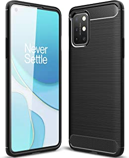 OnePlus 8T Case, Ikwcase Carbon Fiber Skin Resilient TPU Shockproof Armor Protective Case Cover for OnePlus 8T Black