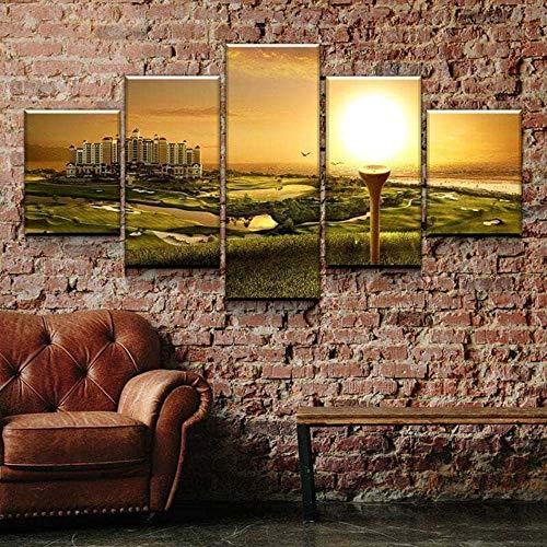 45Tdfc 5 Panel Wall Art Campo de Golf Ocean Resort Paisaje Pintando la impresión de la Pintura en Lienzo Pictures para decoración de casa Pieza de Regalo de Firstwallart