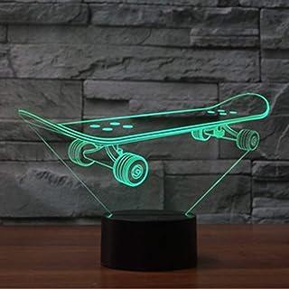 3D Skate Ilusión Lámpara luz Nocturna 7 Colores Cambiantes Touch USB de Suministro de Energía Juguetes Decoración Regalo de Cumpleaños Navidad