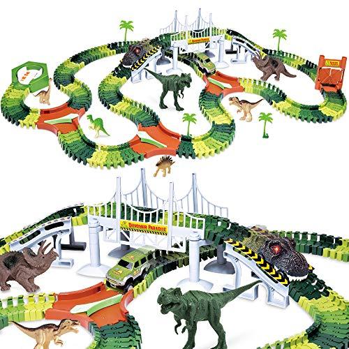 Dinosaur Track Toy Set 288 Piece, Dinosaur Car Race Track Toy with 264 Flexible...