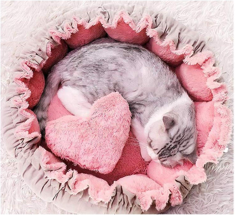 JXLBB Petal Pink Kennel Small Dog Winter Warm Seasons Universal Cat Litter Sleeping Bag Dog Princess Bed Cute Pet Cat Bed