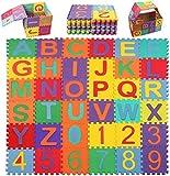 Swonuk 36 pièces Puzzle Tapis Mousse Bébé Non Toxiques Alphabets & Chiffres Tapis de Puzzles pour Enfants 15 * 15cm/pcs