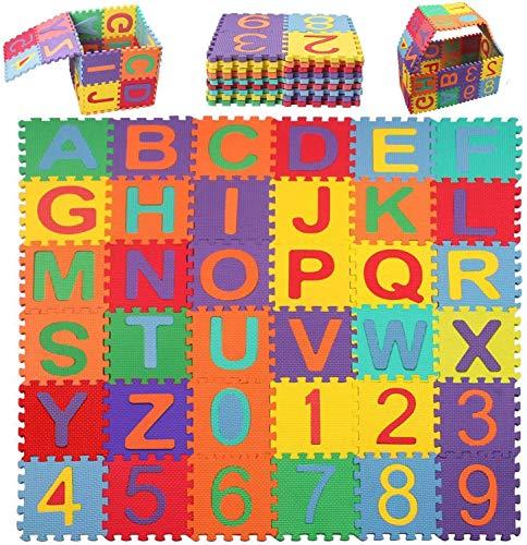 Swonuk Alfombra Puzzle Bebé Niños Colchoneta Rompecabezas Infantil Alfabeto y Número Espuma Estera 36pcs 15,5 * 15,5cm