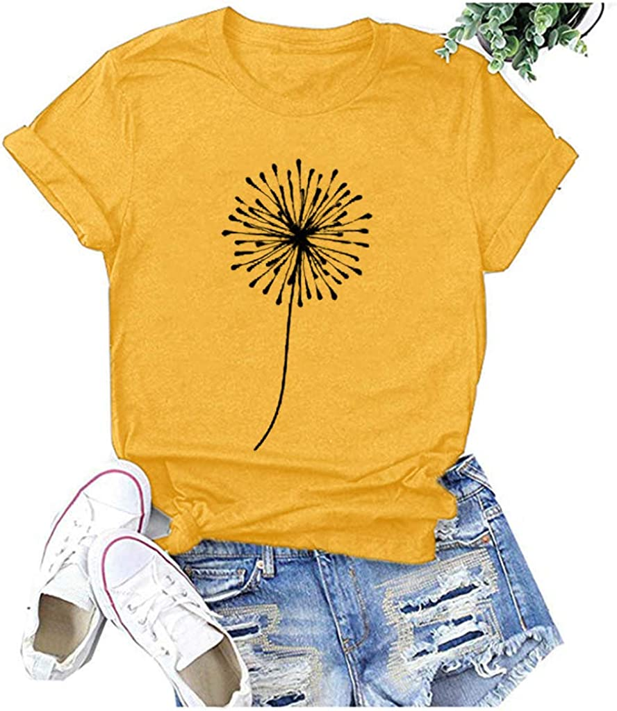 AODONG T-Shirts for Women,Women's Summer Tops Casual Loose Dandelion Printed Funny Graphic Tee Shirts Blouses Tunics