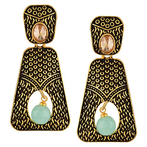 Efulgenz Boho Vintage Antique Ethnic Gypsy Tribal Indian Oxidized Gold Geometrical Dangle Earrings Jewellery