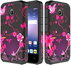 Compatible for Alcatel OneTouch Ideal 4G 4060A/Pixi Avion A571VL/Alcatel Dawn Case, SOGA [Astro Guard Series] Hybrid Armor Cover Protector Case - Mid-Night Heart Flower