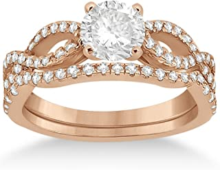 18k Gold Infinity Twisted Shank Diamond Engagement Ring with Band Setting for Women (0.18ct)