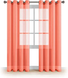 MEMIAS Window Sheer Curtains with Grommets, 2 Panels, Each Panel, 54
