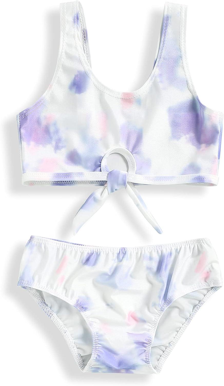 bilison Toddler Girls Swimsuits Tie Dye Bikini Two Piece Swimwear Bathing Suit