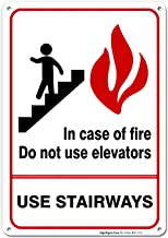 Fire Sign, in Case of Fire Do Not Use Elevators Sign, 10x7 Rust Free Aluminum, UV Printed, Easy to Mount Weather Resistant Long Lasting Ink Made in USA by SIGO SIGNS