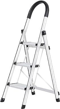 xaestival Lionladder 3 Step Stool Aluminum Ladder Portable Folding Anti-Slip with Rubber Hand Grip 330lbs Capacity,Silver Hou