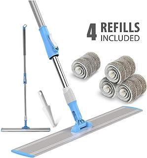 "Wet Mop 24"" Microfiber Mop Heavy Duty Floor Mop Aluminum Mop Adjustable Stainless Steel Handle 4 Wet and Dry Clothes Floor Cleaning System"