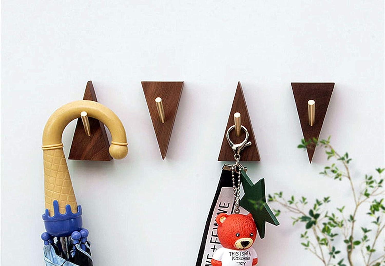 4 Pack Wall Hooks, Natural Black Walnut Coat Hooks Wall Mounted Free from Punching Hooks for Hanging Bathroom Towels,Entryway Wall Hangers Hooks for Keys, Hats,Ties.(Brass Hook+ Black Walnut)