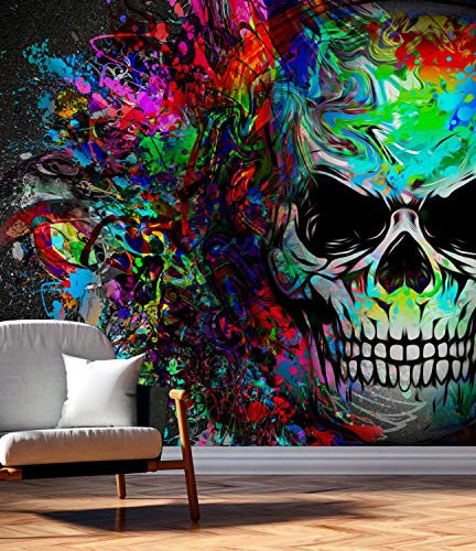 Vlies Tapete XXL Poster Fototapete Totenkopf Grafitti Muster bunt Farbe color, Größe 200 x 200 cm