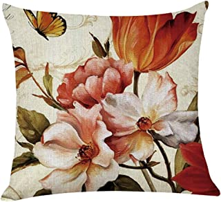 Unionm Pillow Covers Decor Throw Pillow Case Linen Birds and Flowers Printed Square 45 x 45 cm 18 x 18 inch Cushion Cover for Home Sofa Car 1 Pack